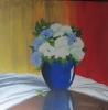 Hortensien in blauer Vase
